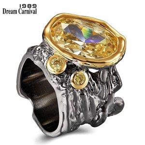 DreamCarnival1989 Very Big Dazzling Gold Color Zirconia Wedding Ring Women Irregular Cut Band Gothic Chic Dating Jewelry WA11756