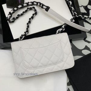 2021 Womens WOC wallet on pear chain diamond flap bag black lambskin real leather credit card holder money clip quilted shoulder crossbody bags