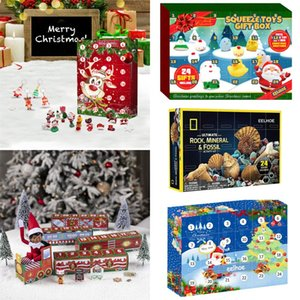 Christmas Countdown Advent Calendar Train Blind Box 24 Day Party Favor Mineral Pendant Squeeze Boxes Toy Gift for Kids