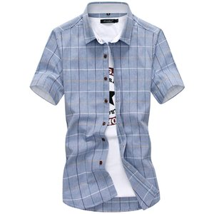 Новая повседневная клетчатая рубашка для мужчин 2019 новая летняя мода Chemise хлопок сочетается с коротким рукавом рубашки социальные для человека