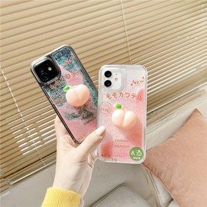 Cute Peache Dynamic Liquid Quicksand Phone Cases For iPhone 12 11 Pro Max Xs 7 8 Plus Xr X SE2 Glitter TPU+PC Cover