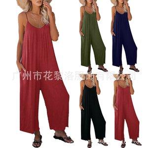 Womens Suspender Jumpsuit 2021 Verão Color Sólido Bolso Casual Macacão
