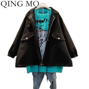 Women's Jackets QING MO Autumn Fashion Solid Color Stand Collar Jacket Women 2021 Loose Large Size Zipper Cardigan Female Top ZWL1020