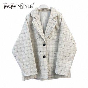 Twotwinstyle elegante abrigo a cuadros para mujeres con muescas de cuello manga larga remiendo de manga larga abrigos casuales de gran tamaño femenino moda nueva marea 979b #