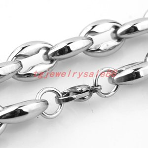 """6.5 7.5 12mm Wide 7-40"""" Option Silver Color Men's Coffee Beans Link Chain Necklace Or Bracelet Stainless Steel Jewelry Chains"""