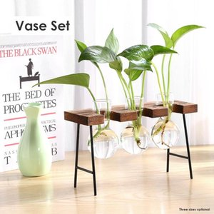 Creative Glass Tabletop Plants Bonsai Flower Wedding Home Decorative Vase Wooden Base Craft Tray Hydroponic Plant Vases Gifts