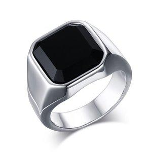 Acciaio inossidabile ad alta lucidato nero agata mens anello di moda anelli di gioielli accessori argento taglia 8-12 814 R2