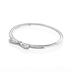 New arrival 925 Sterling Silver Sparkling Bow Bangle Bracelet Original Box for Pandora CZ Diamond Women Weddnig Gift Jewelry Bracelet Set