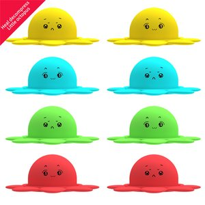 US Ship Reversible Flip Octopus Silicone Toy To Relieve Stress Emoji Chapter Doll Adult Kids Party Gift Office