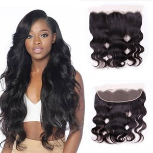 13x4 Body Wave Frontal Brazilian Human Hair Closure 8-20 Inches Pre Plucked With Baby hairr Remy bleached knots