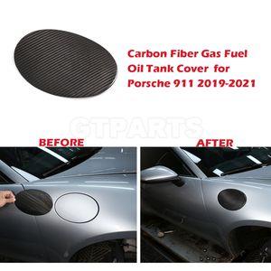 Real Carbon Fiber Car Gas Fuel Oil Tank Cover Protection Cap Sticker for Porsche 911 2019-2021