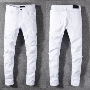 Luxurys Designer Mens Jeans Famous Dasual Design Slim-leg White Embroidery Snake Motorcycle summer trousers pencil pantsSize 29-40