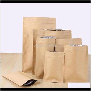 Bulk Kitchen Storage Housekeeping Organization Home & Garden11 Sizes Zipper Brown Stand Up Kraft Paper Aluminium Foil Pouch Resealable Zip L