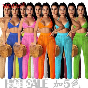 Women's Two Piece Pants Wholesale Items Bulk Lots Knitted Hollow Through Womens Set Fashion Solid Pantsuits Clothing Women Outfits M6788