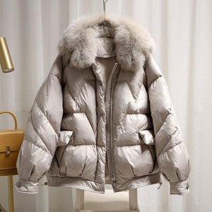 SEDUTMO Winter Fur Collar Oversize Duck Down Coat Women Fashion Short Warm Parkas Autumn Slim Basic Jackets ED1434