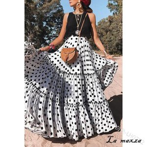 Skirts Plus Size 5xl 2021 Women Summer Skirt Sexy Bohemian Dot Womens Fashion Casual Long