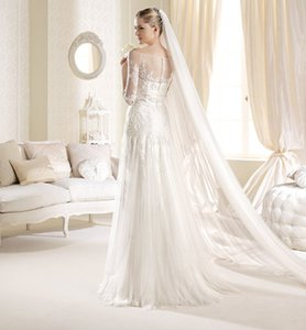 2021 Arrival White Ivory 3M Bridal Veils Wholesale Cathedral Long Wedding Accessories one-Layer Cut Ege Simple Desin Wedding Veils