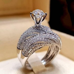 Choucou 브랜드 쿠페 반지 우아한 빈티지 쥬얼리 925 스털링 실버 라운드 컷 화이트 토파즈 여성 결혼식 약혼 신부 반지 선물을 설정