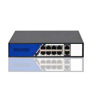 48V 8 + 2 POE التبديل 100Mbps شبكة إيثرنت التبديل 8 منافذ التبديل وحدة التحكم القياسية RJ45 لمعرفة كاميرا IP / Wireless AP / CCTV 120W