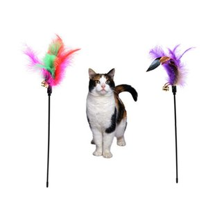 Cat Toys Soft Colorful Feather Bell Rod Toy for cats Kitten Funny Playing Interactive Pet Supplies ZWL206