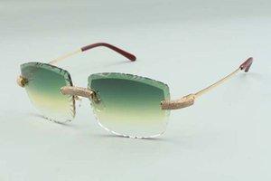 2021 수석 디자이너 선글라스 3524023 절단 렌즈 마이크로 포장 된 다이아몬드 금속 와이어 스틱 안경, 크기 : 58-18-135mm