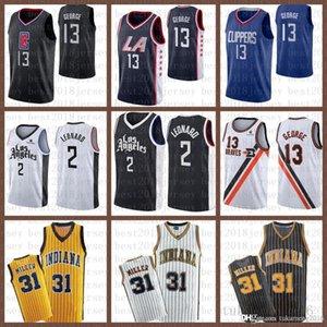 2021 New 00 Jersey Basketball LosAngelesClippers IndianaPacers Mens Kawhi Paul 13 George 2 Leonard Reggie 31 Miller Noir