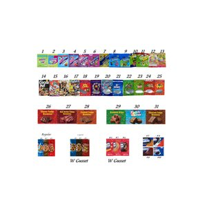 710Latest Version Rice Edibles Package Mylar Bags Chewy Chrunchy Packaging W Gusset Ropes Myla Bag Zipper Lock Poly Resealable Rope Packing Soft Snack Food Packages