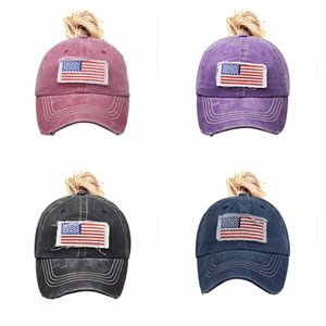 Women Ponytail Hats American Flag Embroider Baseball Cap Washed Hole Net Hat Classics Ball Caps Adjustable Outdoor Sport Visor 10Colors wmq1288