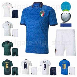 Italie 2021 Europe Coupe Soccer 10 Lorenzo Insigne Jerseys Ensemble Équipe nationale 17 Ciro Immobile 9 Andrea Belotti 19 Leonardo Bonucci Football Shirt Kits 2020 Euro