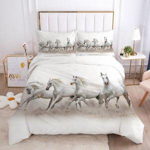 Bedding Sets 3D Duvet Quilt Cover Set Comforter Pillowcase Bed Linen King Queen Full Single Size White Animal Horse Home Texitle