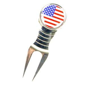 Repair leggero riparazione Golf Divot Tool Strumento Groove Cleaner W / USA Pattern Bandiera - Accessori a sfera AID AIDS