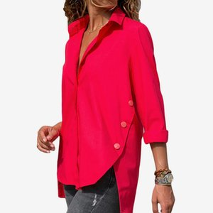 Women's Blouses & Shirts V Neck Chiffon Solid Irregular Female Blouse With Buttons Office Lady 2021 Autumn Long Sleeve Tops Plus Size 5XL