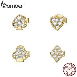 BAMOER 1 ADET Poker Saplama Küpe Kadınlar Için 925 Ayar Gümüş Altın Renk Temizle CZ 4 Şekil Deldi Çiviler Takı SCE1053