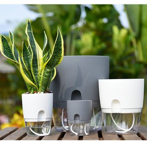 11.3*8.2cm Convenient Flowerpot Double layer AS Plastic Material Transparent with Absorbent Cotton Rope Planter A703 Demountable LLA583