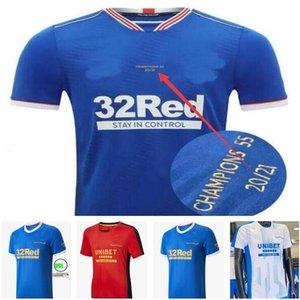 Rangers 150th Anniversary Kent Soccer Jerseys 2021 22 Tavernier Morelos Mailleots De Foot Kamara Barisic Training Tee Hagi Defoe كرة القدم قميص كيت