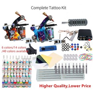 Kit tatuaggio completo per principianti Aghi di alimentazione Aghi Pistole Impostare Small Configurazione Tatuaggi inchiostro Body Art Strumenti