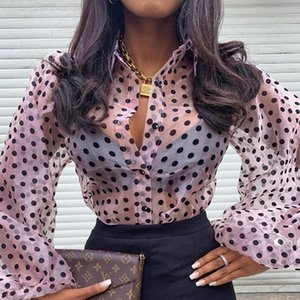 Polka Dot Lantern Sleeve Mesh Blouse Women Long Blouses Women's & Shirts