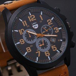 Wristwatches High Quality Men's Quartz Watch Military Leather Waterproof Platinum Luxury Round Relogio Masculino