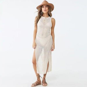 Polyester Hollow Knitted Sleeveless Suspender Dress Beach Blouse Bikini Swimsuit And Long Skirt Fashion Women Women's Swimwear