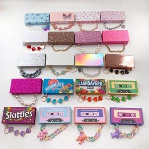 False Eyelashes Print Eyelash Packaging Wholesale With Chain Rectangle Lashes Case Lash Boxes Trays Bulk 25mm Mink Box