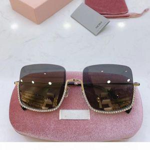 Diamond Oversized Rimless Sunglasses Women Square Metal Frame Clear Lens Sun Glasses Vintage Designer Brand Designer Sunglass Ladies Shades