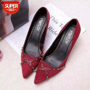 YTMTLOY Kadınlar Moda Siyah Süet Rahat Yüksek Topuk Ayakkabı Lady Tatlı Ofis Kırmızı Pompalar Sivri Burun Zapatos Tacon Mujer # VQ1W