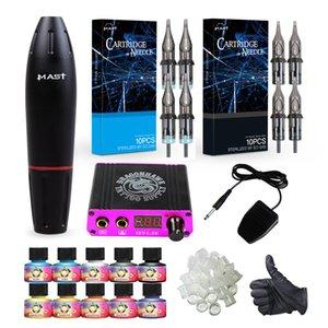 Mast Tattoo Kit Rotary Motor Pen Machine Cartridges Needles Inks Mini Power Supply D3029