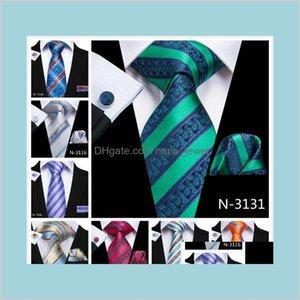 HI-Tie Varış 10 Tarzı Şerit Bağları Boyun Kravat Cep Kare Kol Düğmeleri Mens İş Partisi için Set E58KA HV0ZW