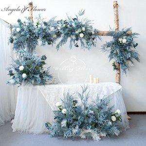 Custom Haze Blue Dream Wedding Arch Floral Arrangement Artificial Flower Row Runner Wall Party Background Window Display Decorative Flowers