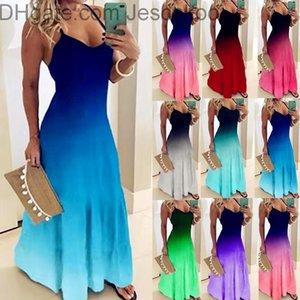 24 색 여성 Maxi 캐주얼 Sundress 여성 섹시한 서스펜더 백리스 넥타이 염료 다채로운 인쇄 패션 숙녀 긴 드레스 플러스 사이즈