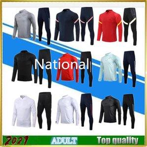Top Qualtiy 2021 Suit de l'entraînement de football national 20-21 Manches longues Jogging Football Hommes TrackSuit Jacket Maillot de pied