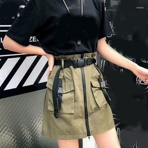 Fashion Women Black Skirts Punk Pocket Skirt Summer High Waist A Line Zipper One-step Mini With Belt1