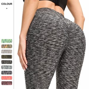 Women Fitness Trousers Ninth Yoga Pants Jacquard Weave Leggings High Waist Sports Pant Mention Hip Legging Running Tight WMQ1283