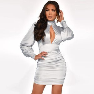 Party Dress MT4237 Sleeve Sexy Hollow Out Round Neck Tunic Bodycon Fitted Slim Gathering Stretchy Mini Club Women Chic Long